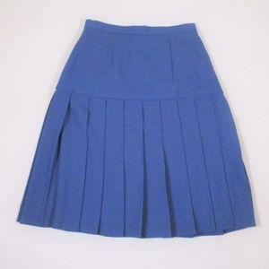 St. John 8 Blue Pleated Skirt Knee Length EUC